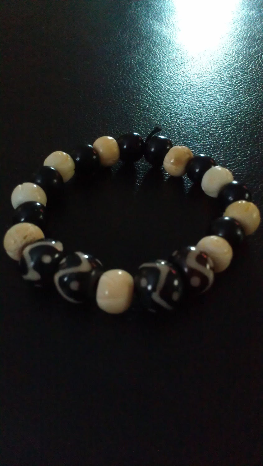 Unisex Tribal Black and Ivory Beaded Bracelet with Wooden, Bone, and Ceramic Beads and Stretch Elastic Cord