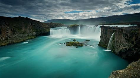 wallpaper godafoss waterfall iceland hd nature