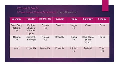 piyo   day fix hybrid workout schedule