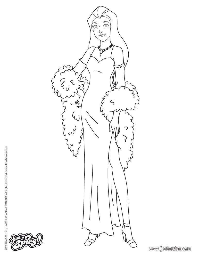 Sam Fashion 2 Sam en robe de soirée 2 Coloriage Coloriage TOTALLY SPIES Coloriage SAM