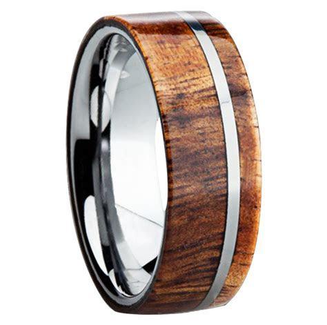 Wood Inlay Mens Wedding Rings   Mens Wedding Bands