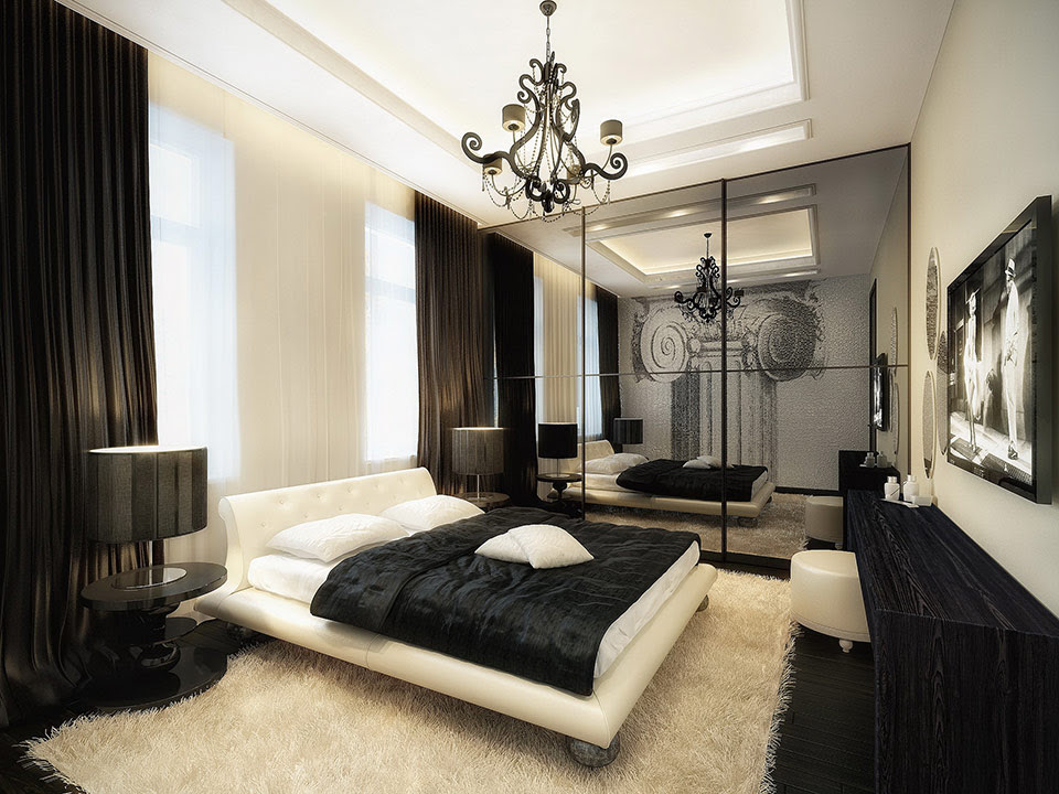 luxurious  black and white  bedroom  Interior Design  Ideas
