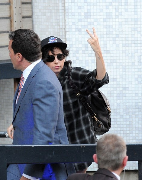 Lady Gaga arrives at the ITV Studios in London on October 29, 2013.
