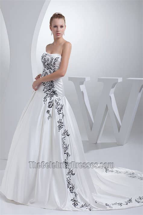 Strapless Sweetheart A Line Black Embroidery Wedding Dress