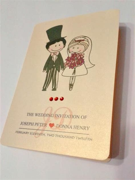 Cute Cartoon Couple Wedding Invitation Card   Wedding