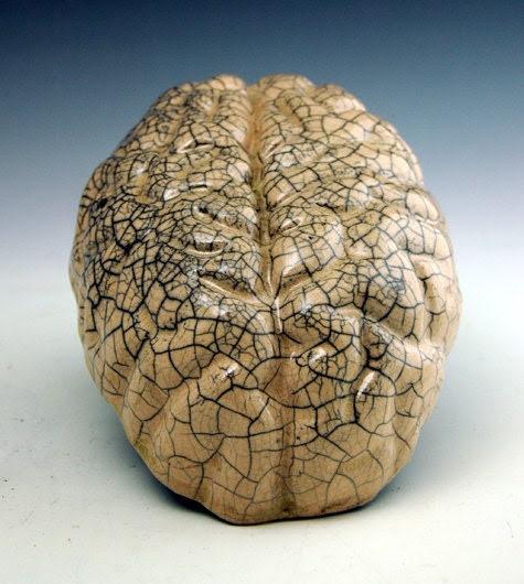 raku brain, crackle glaze