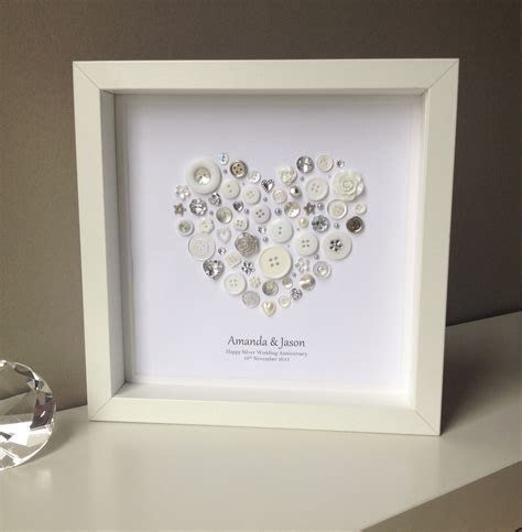 Silver Anniversary Gift 25th Wedding by ButtonArtbySophie