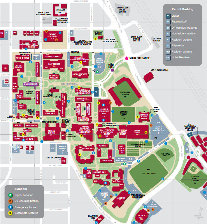 Scu Campus Map Scu Campus Map | Earth Map