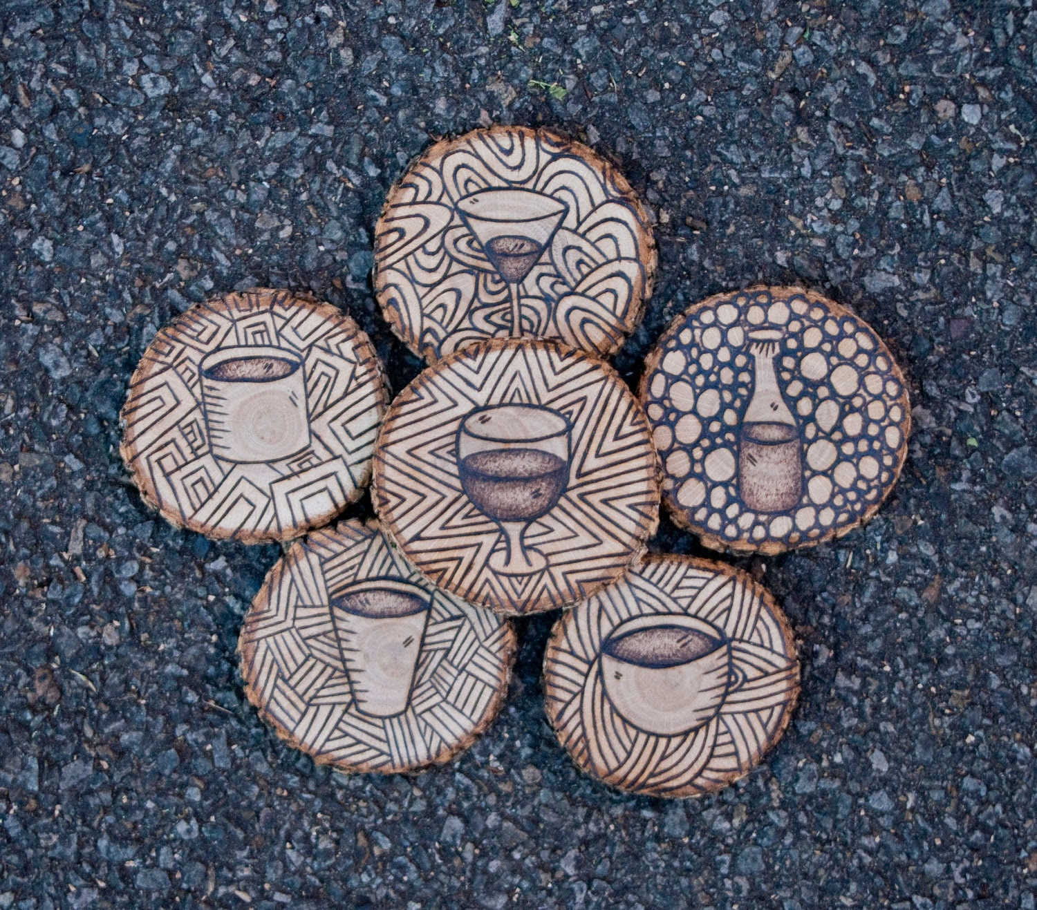 Woodburning Coaster set - made to order - BurnThisArt