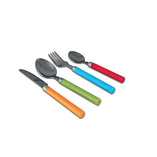 Ragalta 16 Piece Stainless Steel Flatware Set with Colored Handles ...