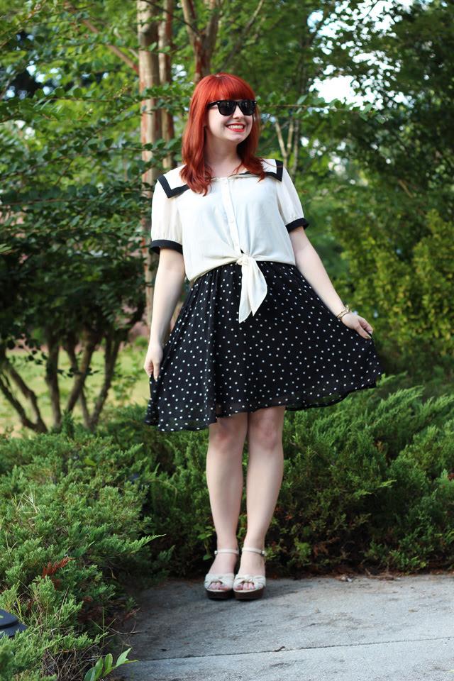 Polka Dot Dress and Sailor Crop Top