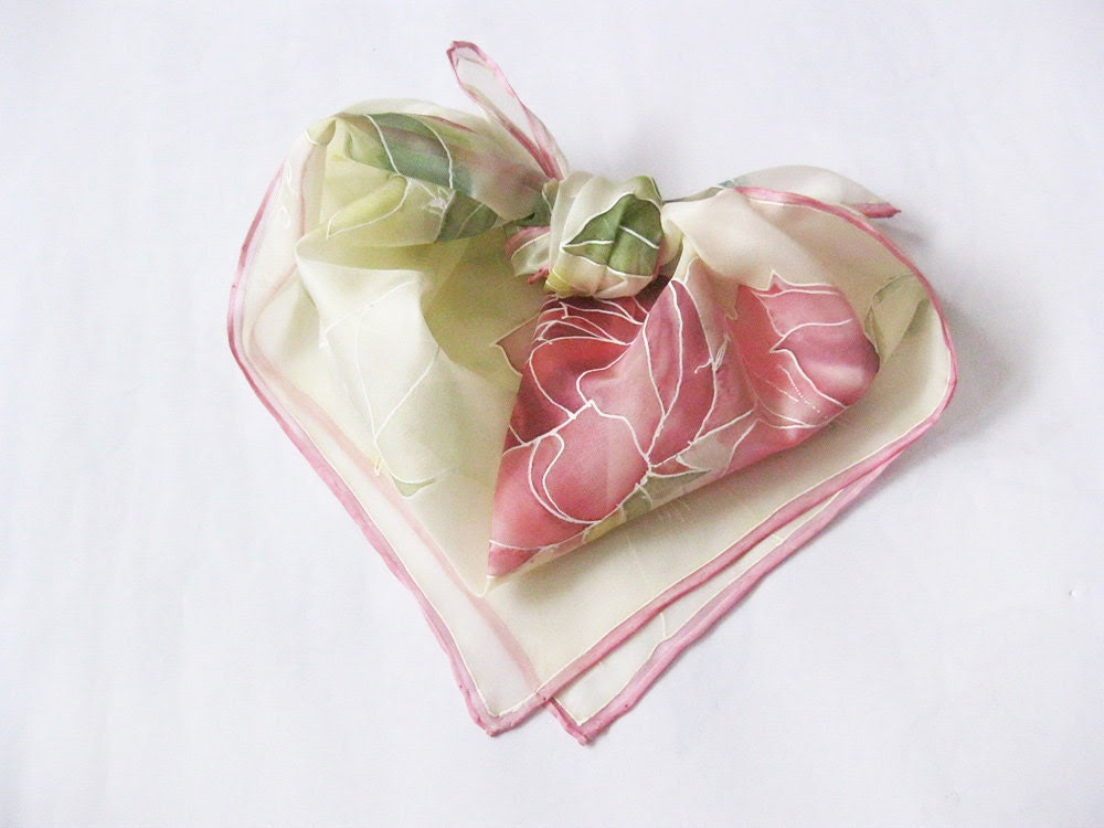 Hand painted Silk Scarf Pink Flowers Roses Spring accessory - made TO ORDER - DEsilk
