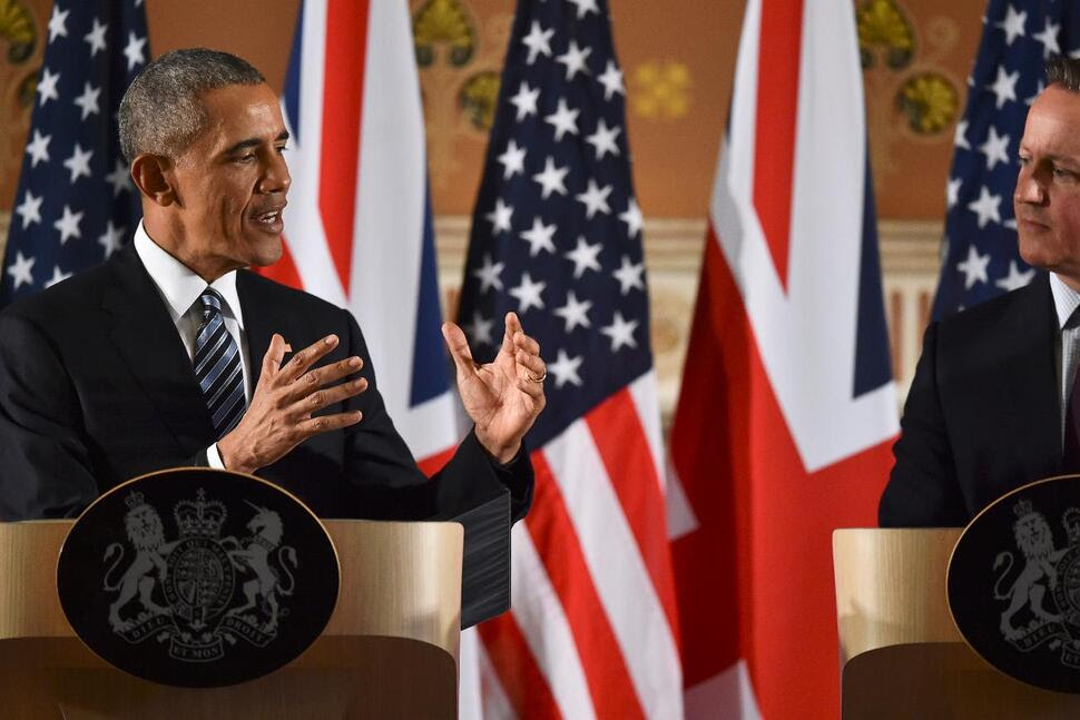 President Barack Obama and British Prime Minister David Cameron during a press conference at the Foreign and Commonwealth Office on April 22, 2016, in London.