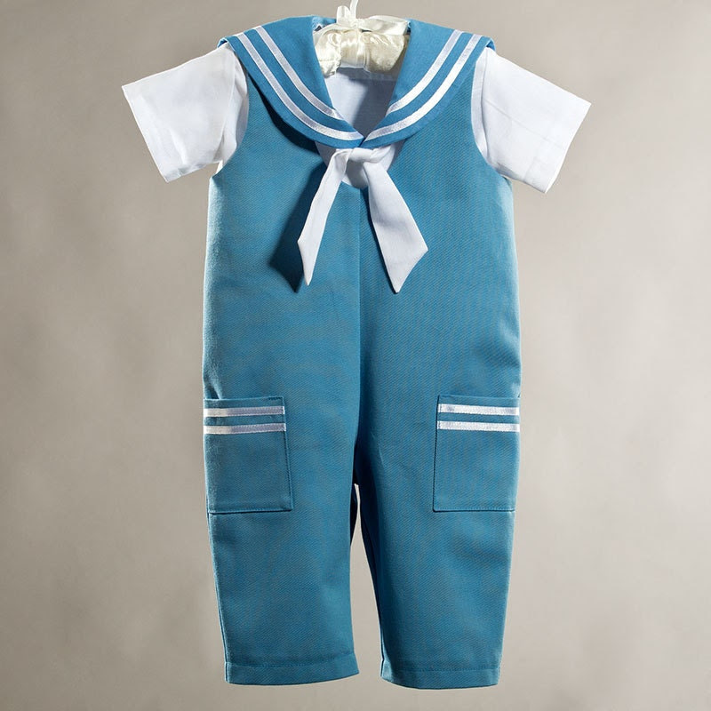 Sailor baby boy suit, baptism / christening baby boy outfit, baby boy party suit, ring bearer baby boy clothes, ice blue