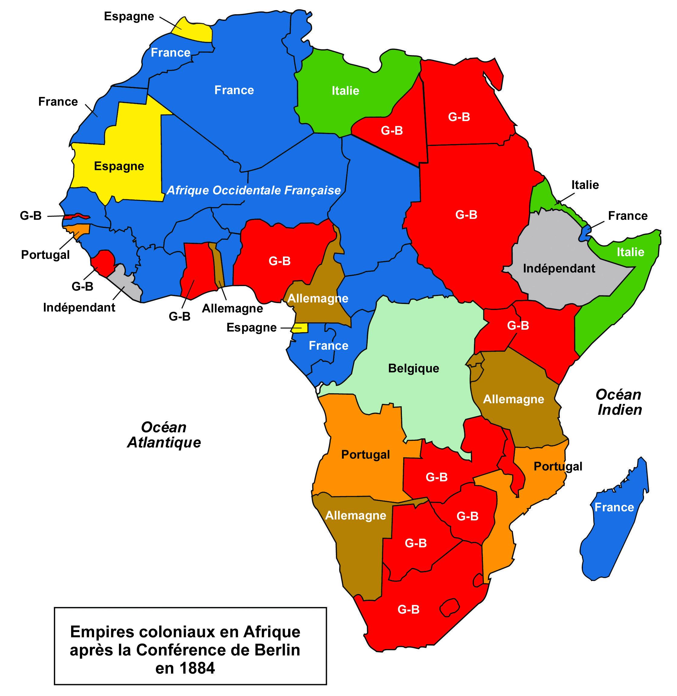 Carte Du Partage De Lafrique Colonisation De Lafrique