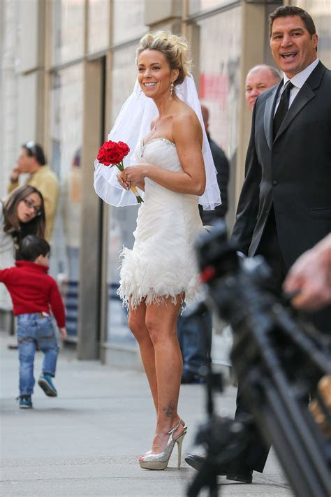 KATE GOSSELIN in Wedding Dress Promotes Brides for a Day