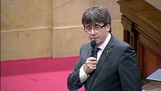 Carles Puigdemont, aquest matí, durant la sessió de control al Parlament