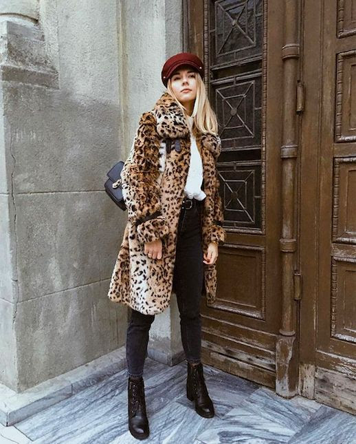 Le Fashion Blog Maroon Hat Leopard Coat White Sweater Black Skinny Jeans Black Combat Boots Via @janesher