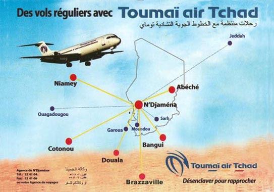 Toumai Air Tchad's Route Map