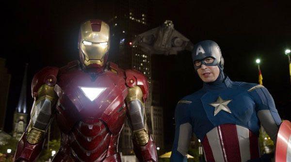 Iron Man (Robert Downey Jr.) and Captain America (Chris Evans) in THE AVENGERS.