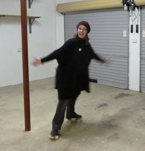 Rollerskating in the studio