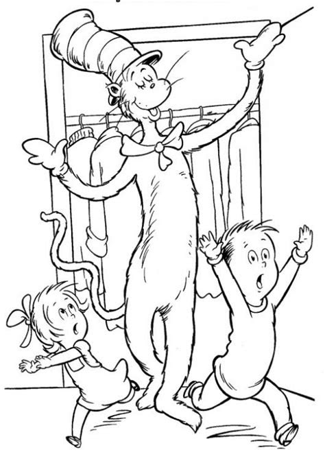 cat  hat coloring page