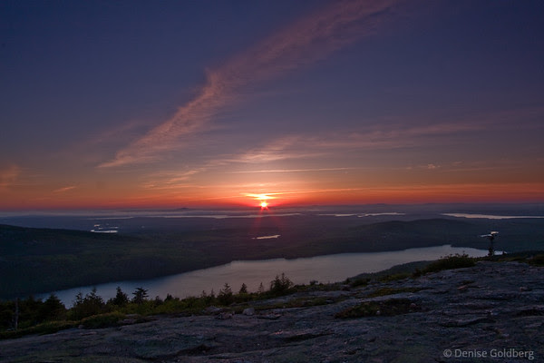 looking west, sunset on Cadillac Mountain