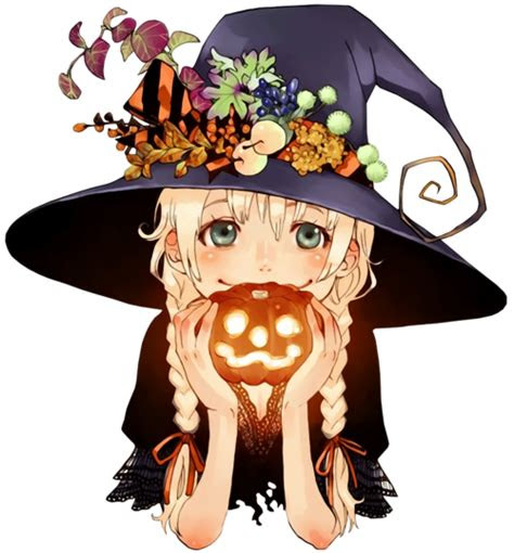 halloween anime girl cute witch pumpkin halloween anime