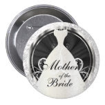 Bridal Party | Black, White & Silver Accents 3 Inch Round Button