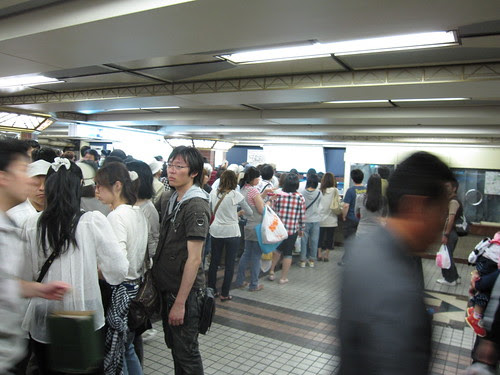 Long queue for ticket at Ueno station