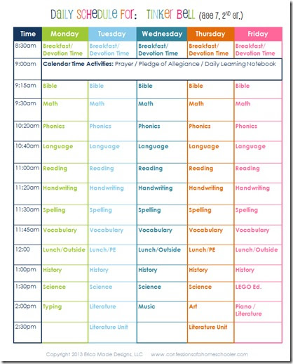Daily Homeschool Schedule: 2nd Grade - Confessions of a Homeschooler