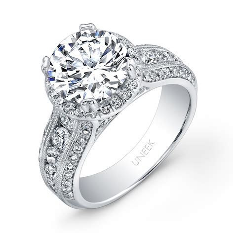 Uneek Round Diamond Wide Band Halo Engagement Ring with