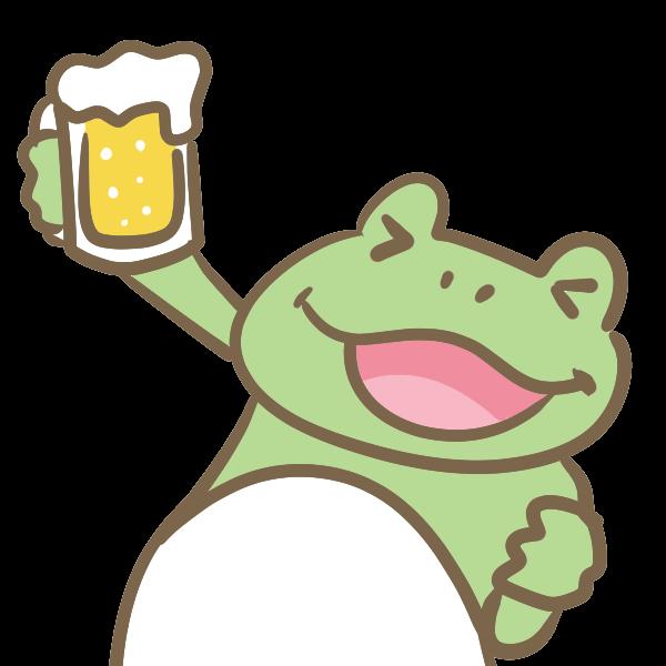 ビ ルをもったカエルのイラスト かわいいフリー素材が無料のイラストレイン