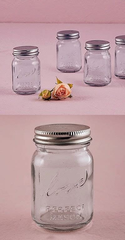 Vintage Inspired Raised Script Love Mini Mason Jars (Set