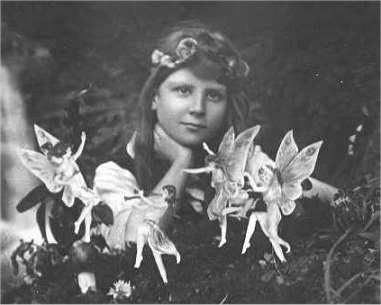 The first of the five photographs, taken by Elsie Wright in 1917, shows Frances Griffiths with the alleged fairies