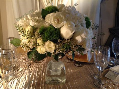 Mexican wedding centerpiece. We collected Patron Tequila
