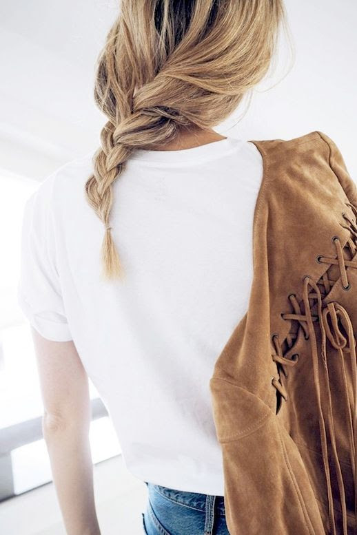 Le Fashion Blog Hair Inspiration Blonde Loose Braid Suede Jacket White Tee Shirt Jeans Via Camilla Pihl