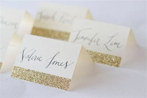 Glitter Place Cards with Custom Calligraphy for Wedding