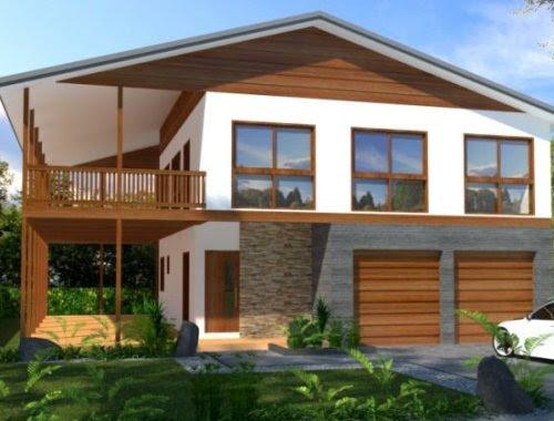 Rumah Minimalis Sederhana 2 Lantai Dengan Balkon Kayu Rumahminimalis Com