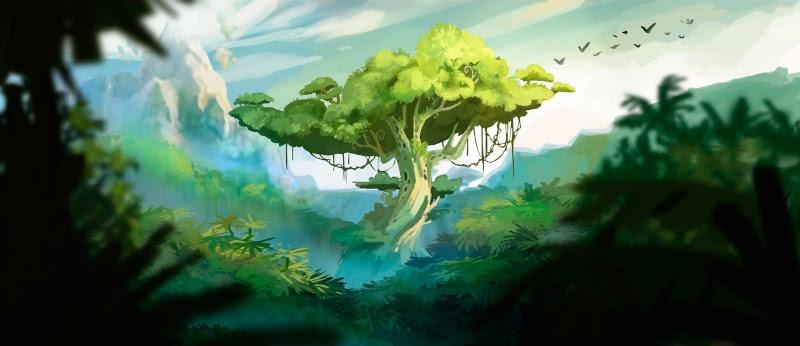 Artwork Rayman Origins Arbre Ronfleur