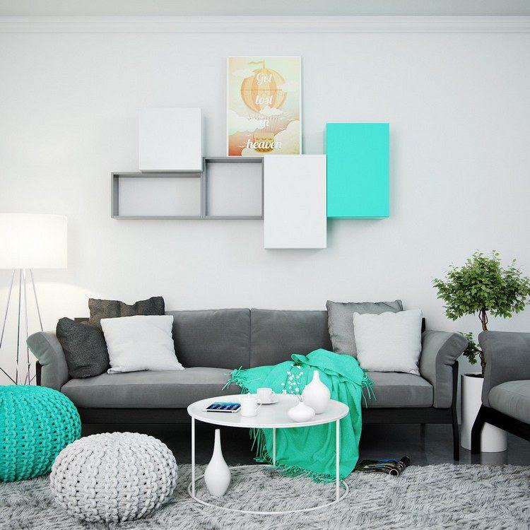 deko ideen wohnzimmer in türkis einrichten – 19 wohnideen