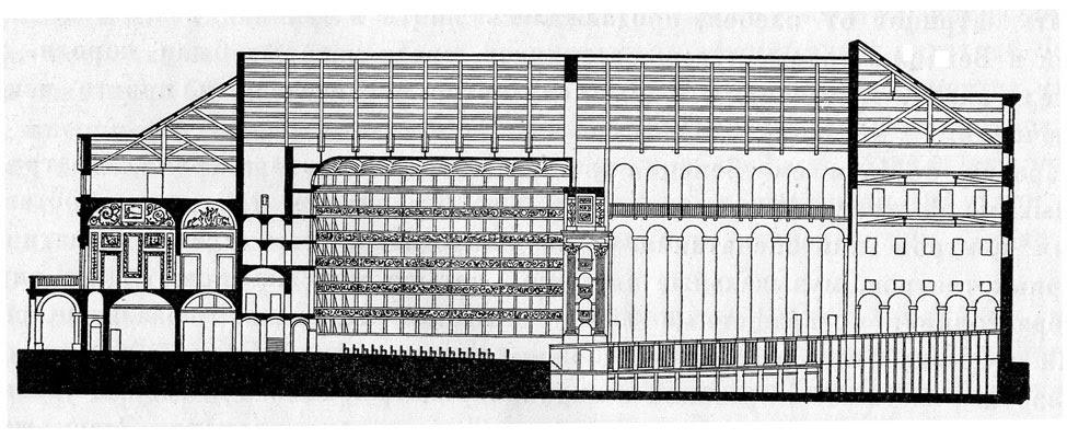 Джузеппе Пьермарини. Театр делла Скала в Милане.Продольный разрез.