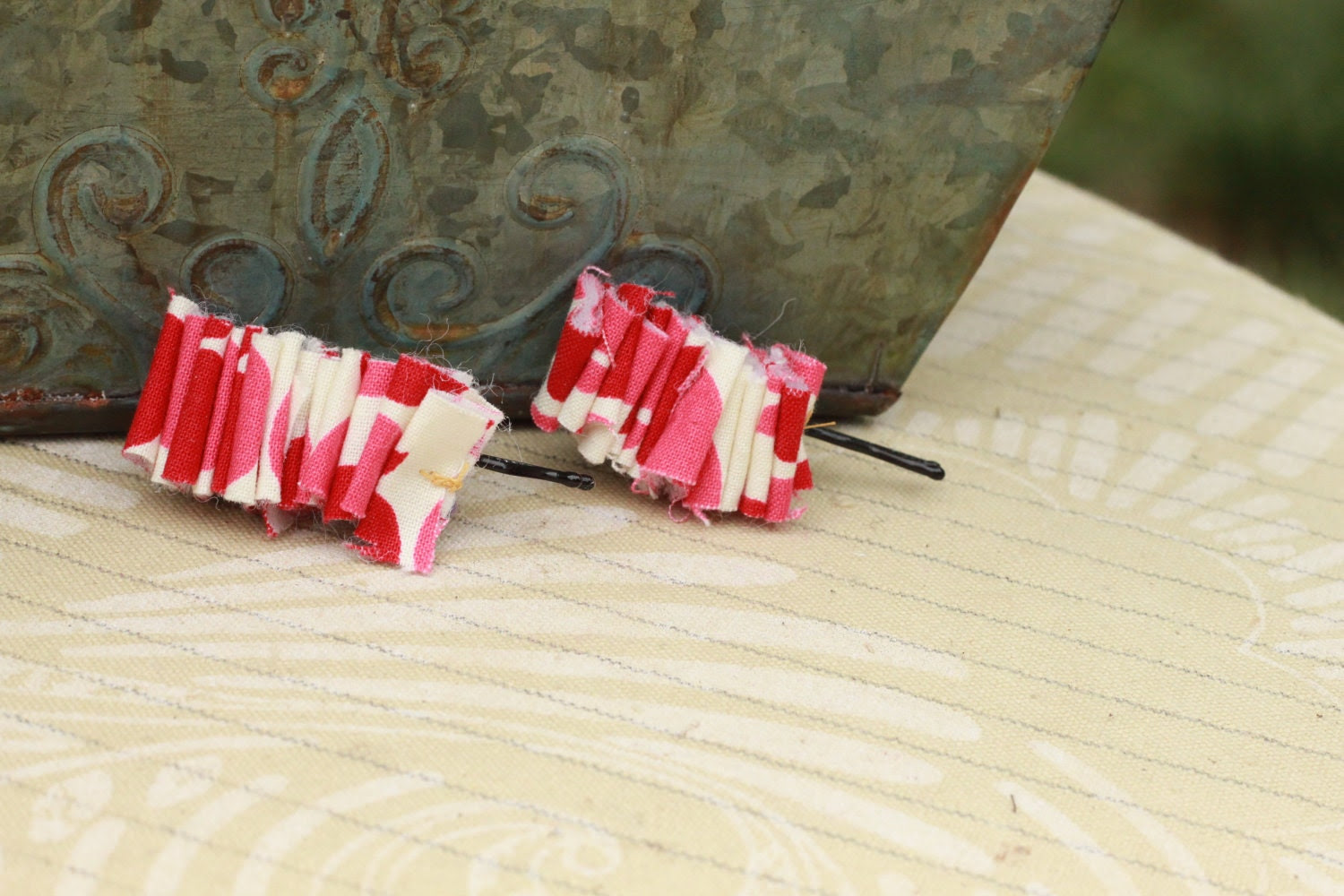 Rosy Posy mini hair ruffles (Bobby Pins)