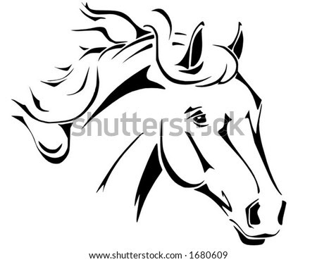 stock vector : Tribal horse head design, perfect for logo or tattoo,