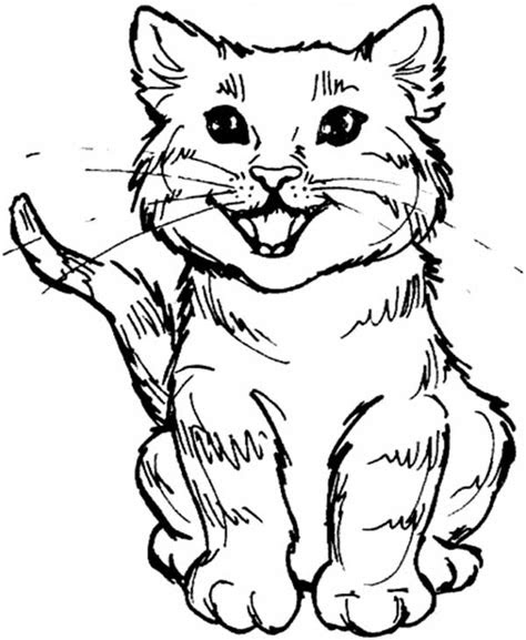 cute kitty cat roaring  meal coloring page kids