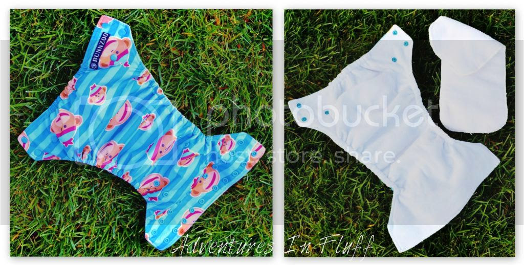Bunnzoo one-size pocket diaper inside and outside