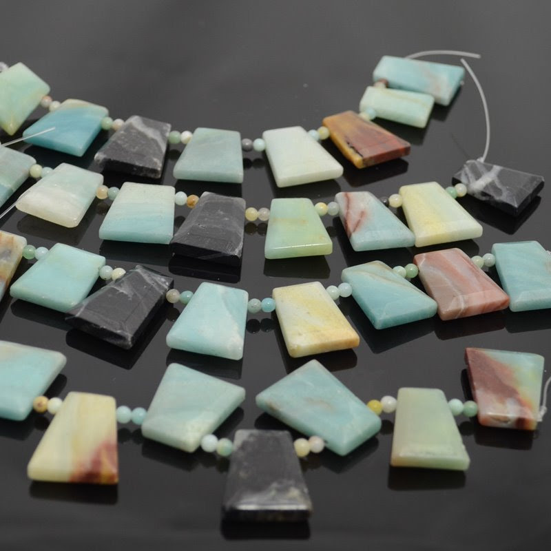 s40043 Stone Beads -  Trapezoid with Rounds - Black Gold Amazonite (strand)