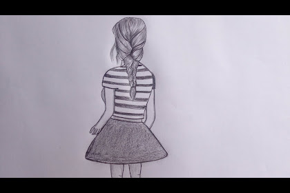 35+ Latest Pencil Sketch Girl Drawing Back View Easy