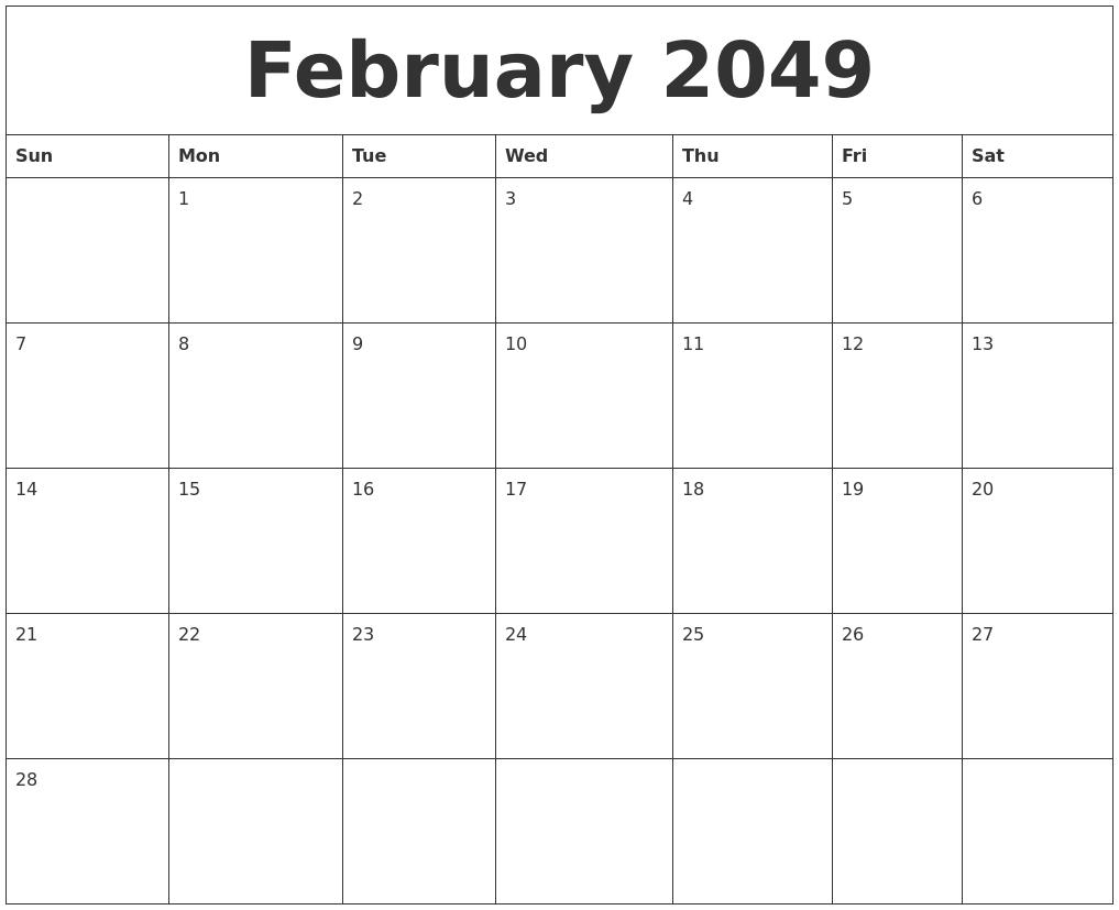 february 2049 free weekly calendar