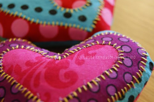 Sew and appliqué hearts